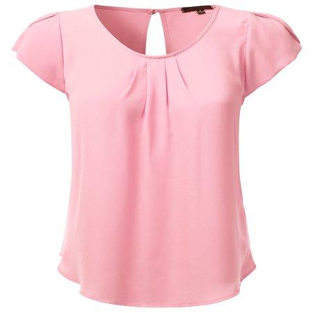 Doublju Women's Woven Petal Short Sleeve Blouse BABYPINK -