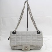 f88d6874f009 Chanel Classic Flap Quilted Chocolate Bar 868985 Gray Canvas Shoulder Bag