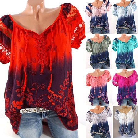 Lace Nylon Blouse - Fashion Women Short Sleeve Gradient Color Shirt Summer Print Lace Hollow Bandage Blouse Casual Loose Tops