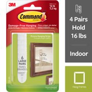Command Large Picture Hanging Strips, White, 6 Sets of Strips/Pack