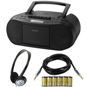 Sony Stereo CD/Cassette Boombox Home Audio Radio with Headphone Bundle