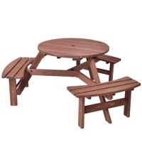 Costway Patio 6 Person Outdoor Wood Picnic Table Beer Bench Set Pub Dining Seat Garden