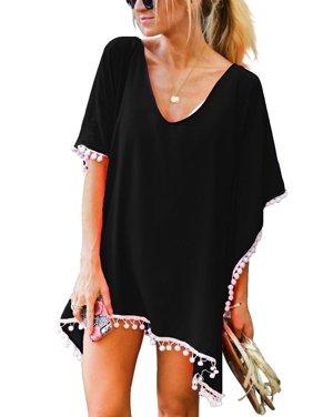 Swim Cover ups Women Bikini Beachwear V-neck Loose Beach Dress Tops Summer Bathing Suit with Tassels Irregular Hems Loose Fit Poncho