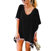5422dde3e2 Swim Cover ups Women Bikini Beachwear V-neck Loose Beach Dress Tops Summer Bathing  Suit