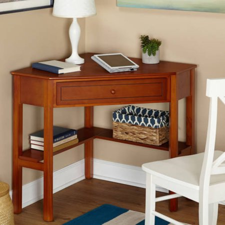 Sterling Drawer Secretary Desk (Corner Writing Desk with Pullout Drawer and Shelf, Multiple)