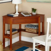 Corner Writing Desk with Pullout Drawer and Shelf, Multiple Finishes