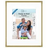 """Mainstays 16""""x20"""" Matted to 11""""x14"""" With Mat Brass Metallic Poster and Picture Frame"""
