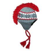 ea12d053eb5 Aquarius Boys Gray   Red Snowflake Print Mohawk Hat Fringe Skull Aviator  Trapper