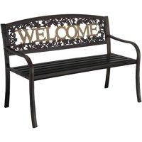 Leigh Country Welcome Outdoor Garden Bench, Black/Gold