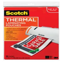 Scotch Thermal Laminating Pouches 20 Pack, Letter Size Sheets, (TP3854-20)