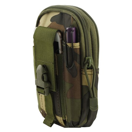 Camouflage Utility Uniform - LG Tribute Dynasty Pouch - Tactical EDC MOLLE Utility Gadget Holder Pack Belt Clip Waist Bag Phone Carrying Holster - (Jungle Camo) and Atom Cloth for LG Tribute Dynasty