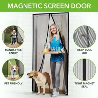 """Magnetic Screen Door with Heavy Duty Mesh Curtain and Full Frame Hook&Loop FITS Door Size up to 36""""-82"""" Max Black--eFBeauty"""