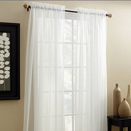 Lace Panel Mini - Decotex 2 Piece Elegant Solid Sheer Window Curtain Panels Treatment Drapes (55