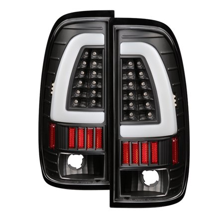 1997 1998 1999 2000 2001 2002 2003 Ford F150 LED Fiber Optic LED Bar Black Clear Tail Lights PAIR
