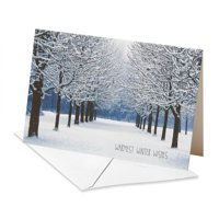 (14ct) American Greetings Deluxe Snowy Park Holiday Wishes Boxed Cards and Envelopes