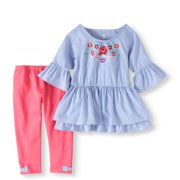 7e568541fdda9 Striped Shirting Tunic and Capri Legging 2-Piece Set (Little Girls & Big  Girls