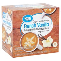 Great Value French Vanilla Cappuccino Mix Coffee Pods, Medium Roast, 18 Count