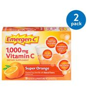 (2 Pack) Emergen-C (30 Count, Super Orange Flavor, 1 Month Supply) Dietary Supplement Fizzy Drink Mix with 1000mg Vitamin C, 0.32 Ounce Packets, Caffeine Free