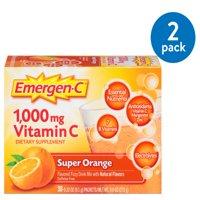 (2 Pack) Emergen-C Vitamin C Drink Mix, Super Orange, 1000 mg, 30 Ct
