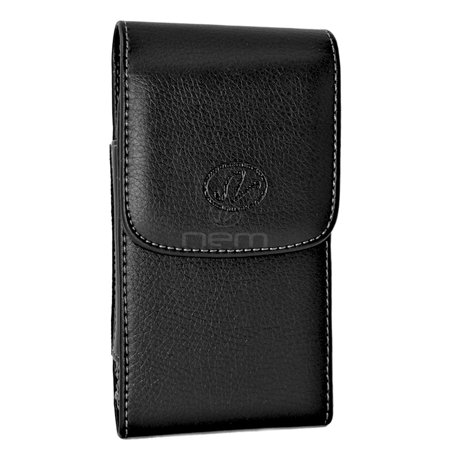 BLACKBERRY CLASSIC LARGE Premium High Quality Vertical Leather Pouch Holster with Magnetic Closure and Swivel Belt Clip - FITS w/ OTTERBOX CASE ON THE PHONE Blackberry Leather Vertical Pouch