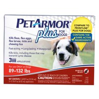 PetArmor Plus Flea & Tick Prevention for Dogs (89-132 lbs), 3 Treatments