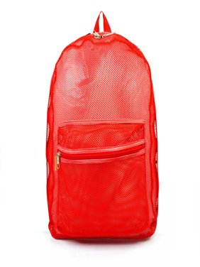 fe7133808a7 Free shipping. Product Image Mesh Backpack See through Student School Bag  Bookbag Mesh Net Daypack