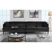 Mid Century Modern Extra Large Velvet Sofa Living Room Couch Black