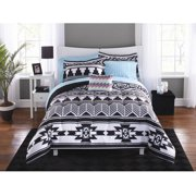 Mainstays Black and White Aztec Bed in a Bag Coordinating Bedding Set