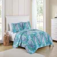 VCNY Home Blue Natalya 3 Piece Bedding Quilt Set, Shams Included