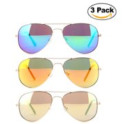 6ddfca8b619 Newbee Fashion - 3 Pack Classic Aviator Sunglasses Flash Full Mirror lenses  Metal Frame for Men