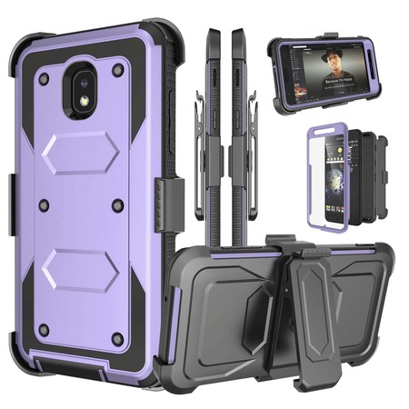 Njjex Case Holster Samsung Galaxy J7 2018 / J7 Aura / J7 Crown / J7 Top / J7 Eon / J7 Refine / J7 Aero /J7 Star, [Built-in Screen] & Kickstand + Holster Belt Clip Carrying Armor Case - Purpel (Aero Armor Nexus)