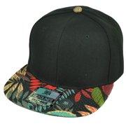 Blank Snapback Flat Bill Brim Headlines Hat Cap Red Floral Pattern Leaves  Black bbb046a1fe42