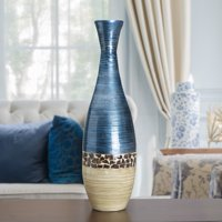 Elements 30 Inch Tall Blue And Cream Bamboo Lacquer Vase
