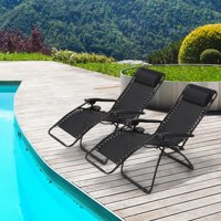 Mllieroo Folding Set of 2 Adjustable Zero Gravity Lounge Chair Recliners for Patio, Pool w/Cup Holders-Black