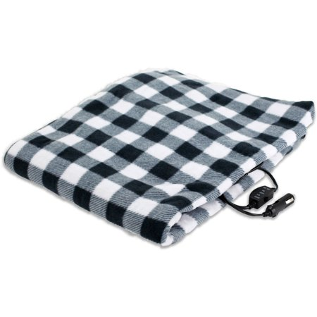 TREKSAFE 12-Volt Heated Travel Blanket, (Best Electric Heated Car Blankets)
