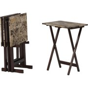 Linon Tray Table Set, Set of 4 Plus Stand, Brown Faux Marble