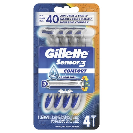 Gillette Sensor3 Men's Disposable Razor, 4 Razors