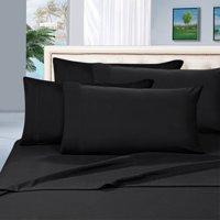Elegance Linen® Wrinkle Resistant  6-Piece Bed Sheet Set - 1500 Thread Count  Silky Sof tSheet Set - Queen, Black