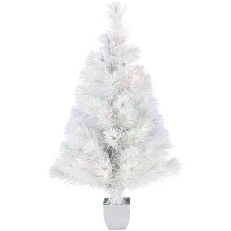 Holiday Time 32-Inch White Fiber Optic Tree 83 Tips with Continuously  Changing Color - Holiday Time 32-Inch White Fiber Optic Tree 83 Tips With