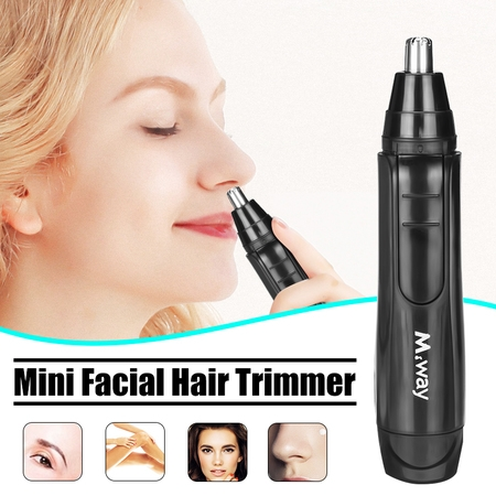 2019 New M.way Wet Dry Electric Portable Personal Ear Nose Eyebrow Mustache Face Hair Removal Trimmer Shaver Clipper Cleaner Remover Tool for Men Women With Stainless Steel Blade