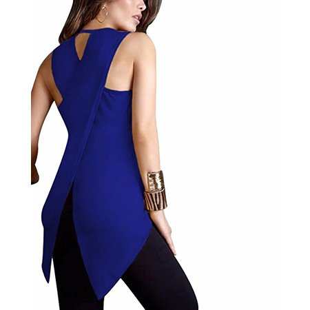 Peek A-boo Back Top - DYMADE Women's Casual Summer Sleeveless Solid Tunic Tops Back Cross Blouse Plus Size