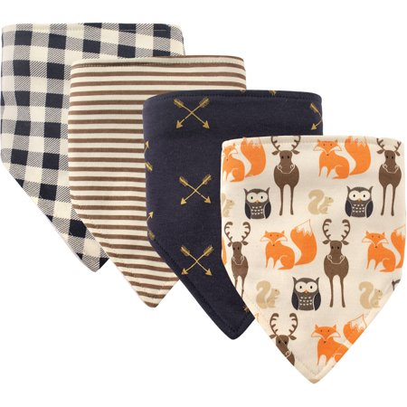 Hudson Baby Boy and Girl Bandana Bib, 4-Pack - Forest (Frosty Bib)
