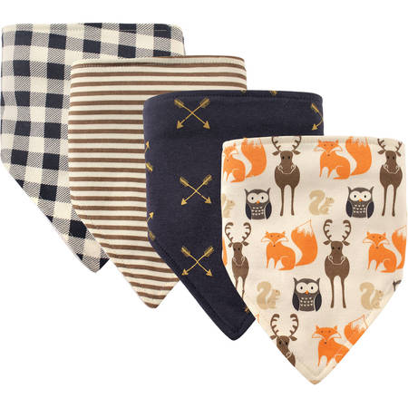 Hudson Baby Boy and Girl Bandana Bib, 4-Pack - Forest
