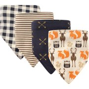 a09cecc01 Hudson Baby Boy and Girl Bandana Bib, 4-Pack - Forest