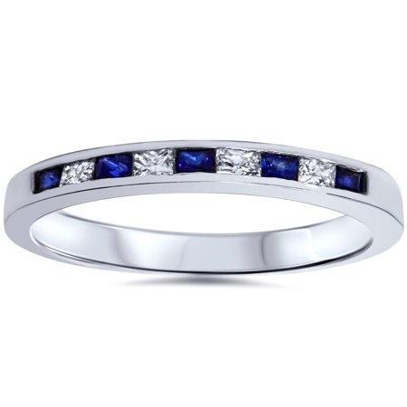 - 1/2 ct Princess Cut Blue Sapphire & Diamond Wedding Ring 14k White Gold
