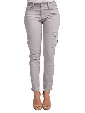 Miss Halladay Women's Stretch Twill Mid-waisted Skinny Cargo Pants Color Lavender