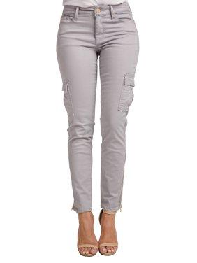 Miss Halladay Women's Stretch Twill Skinny Cargo Jeans Ankle Length Zip Bottom