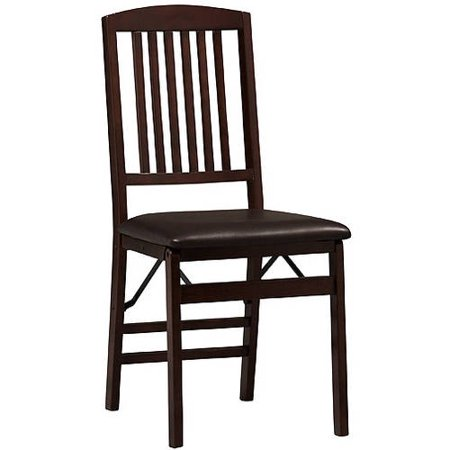 Linon Triena Mission Back Vinyl Folding Dining Chair in Espresso (Set of Two) ()