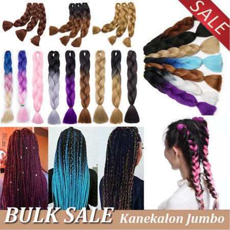 S-noilite 24 Inches 5pcs/lot Ombre Braiding Hair Synthetic Braiding Hair Two Tone Ombre Jumbo Braids Hair Extensions Twist Crochet Hair dark blue to light blue,100g](Light Hair Extensions)