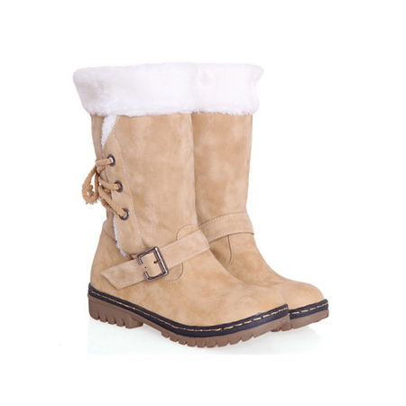 Women's Winter Boots Snow Fur Warm Insulated Waterproof Midi Calf Ski - Furry Winter Boots